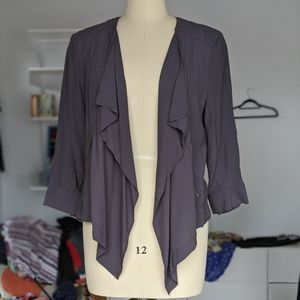 Anthro Elevenses gray draped waterfall jacket Lg